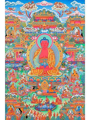 The Paradise of Amitabha Buddha (Super Fine Thangka) -Tibetan Buddhist