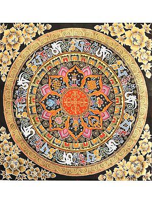 Vishva-Vajra Mandala with Ashtamangala Symbols (Tibetan Buddhist)
