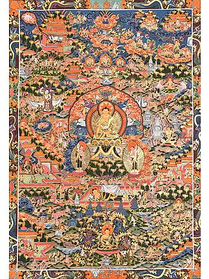 Tibetan Buddhist Deity Buddha Shakyamuni Seated on the Six-Ornament Throne of Enlightenment and the Events from His Life