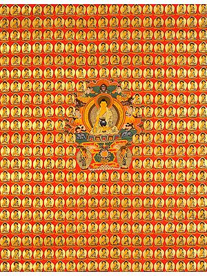 Tibetan Buddhist Thousand Buddhas with Shakyamuni in the Centre Seated on Six-ornament Throne of Enlightenment with His two Chief Disciples Sariputra and Maudgalyayana