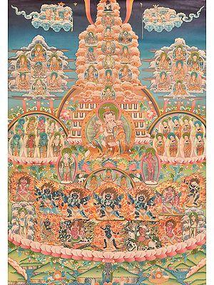 Superfine Museum Quality Thangka of Guru Padmasambhava's Lineage - Tibetan Buddhist