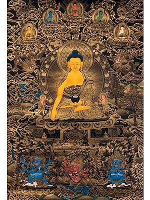 Tathagata Shakyamuni with Five Dhyani Buddhas Atop - Tibetan Buddhist