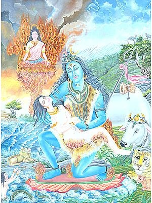 Lord Shiva in Grief - (Shiva Holding the Body of Sati)