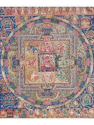 Tibetan Buddhist Mandala of Achalanath in Yab Yum (Large Thangka)