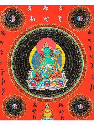 Tibetan Buddhist Goddess Green Tara Mandala with Syllable Mantra and Auspicious Symbols