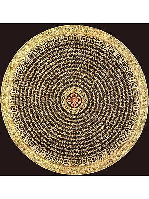 Tibetan Buddhist Vishva Vajra Mandala with the Auspicious Mantras in Tibetan