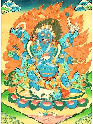 Tibetan Buddhist The Six-Armed (Shadbhuja) Mahakala (mGon po phyag drug pa) - A Highly Symbolic Image