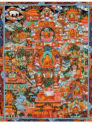 Gautama Buddha and the Scenes from His Life (Tibetan Buddhist)