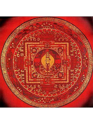Tibetan Buddhist Deity Thousand-Armed Avalokiteshvara Mandala in Red Hue