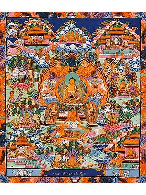 Lord Buddha Seated on Six-ornament Throne of Enlightenment and Scenes from His Life (Tibetan Buddhist)