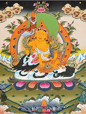 Tibetan Buddhist Deity Vaishravana (Kubera) Seated on White Snow Lion with a Banner of Victory and Mongoose