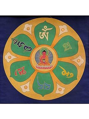 Buddha Mandala with the Syllable Mantra OM MANI PADME HUM (Tibetan Buddhist)