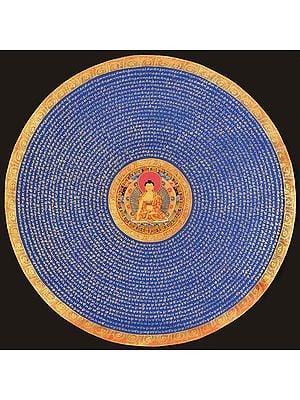 Tibetan Buddhist Mandala of Buddha with Syllable Mantra (Large Size)