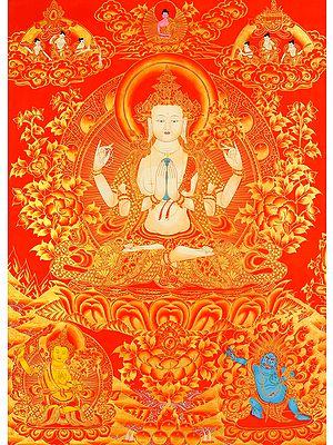 Shadakshari Lokeshvara (Tibetan Buddhist Chenrezig)