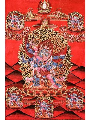 Six-Armed Winged (Tibetan Buddhist) Mahakala in Yab Yum
