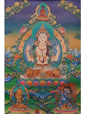 Tibetan Buddhist God Chenrezig (Four Armed Avalokiteshvara)