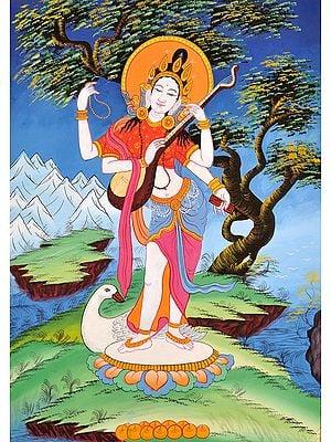 (Tibetan Buddhist Respresent) Saraswati - Goddess of Learning and Knowledge
