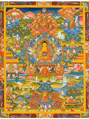 Lord Buddha Seated on Six-ornament Throne of Enlightenment and the Scenes From His Life (Tibetan Buddhist)
