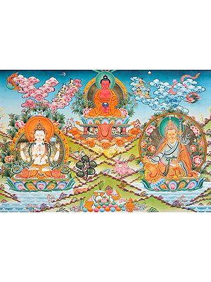 Buddha,Avalokiteshvara and Padmasambhava (A Super Fine Thnagka) -Tibetan Buddhist