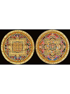 Two Tibetan Buddhist Mandalas (OM and Vajra Mandala)