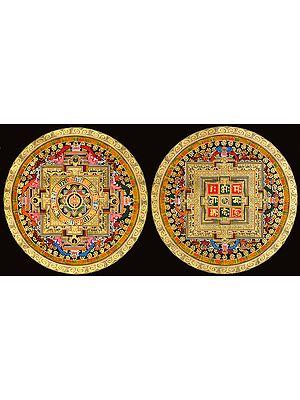 Two Mandalas (Vajra Mandala and OM (AUM) Mandala) -Tibetan Buddhist
