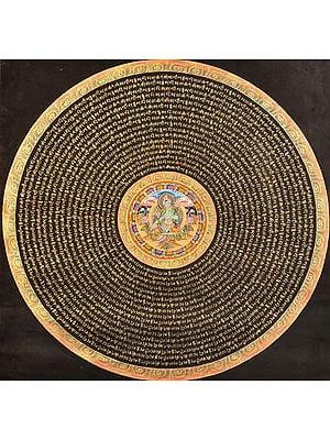 Tibetan Buddhist Goddess Green Tara Mandala with Syllable Mantra