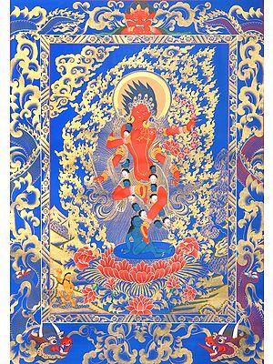Tibetan Buddhist Goddess Kurukulla: The Red Tara (Brocadeless Thangka)