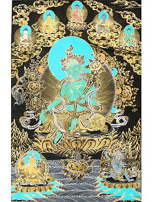Savior Goddess Green Tara With Five Dhyani Buddhas (Tibetan Buddhist)