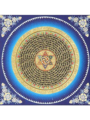 Yin Yang Mandala With Mantras -Tibetan Buddhist
