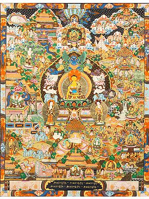 Gautam Buddha On The Six-Ornament Throne of Enlightenment with Scenes from His Life - Tibetan Buddhist