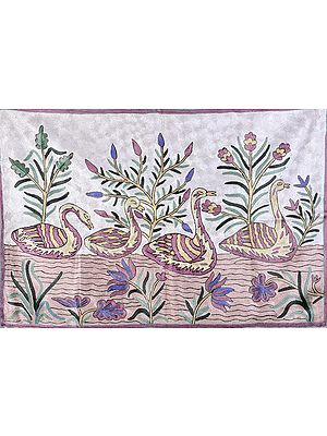 Ivory Asana Mat with Embroidered Ducks on Water
