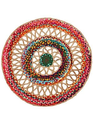 Eco-Rainbow Hand-Crafted Upcycled Jute and Cotton Circular Meditation Mat