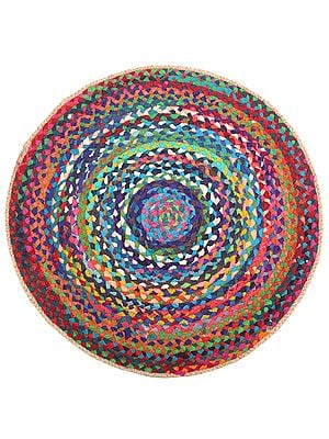 Maritime-Blue Hand-Crafted Upcycled Jute and Cotton Circular Meditation Mat