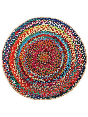 Molten-Lava Hand-Crafted Upcycled Jute and Cotton Circular Meditation Mat