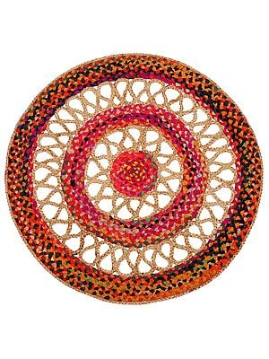 Party-Punch Hand-Crafted Upcycled Cotton and Jute Round Yoga-asana Mat with Jali