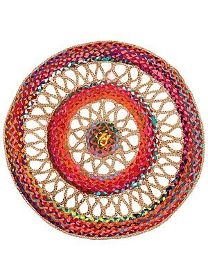 Firecracker Hand-Crafted Upcycled Cotton and Jute Round Meditation Mat with Jali