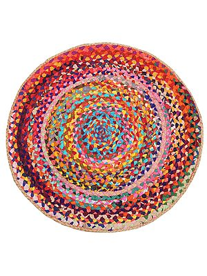 Autumn-Blaze Hand-Crafted Upcycled Cotton and Jute Round Yoga Mat
