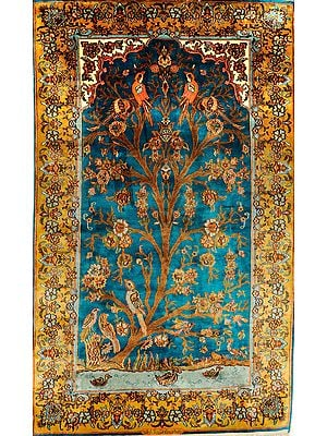 Cyan-Blue Carpet from Kashmir with Knotted Tree of Life