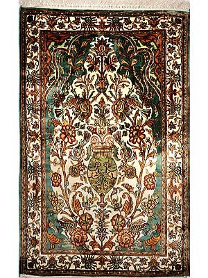 Teal-Green Carpet from Kashmir with Knotted Flowers All-Over