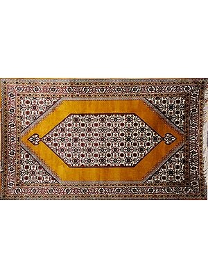 Golden-Yellow Carpet from Kashmir with Knotted Flowers All-Over