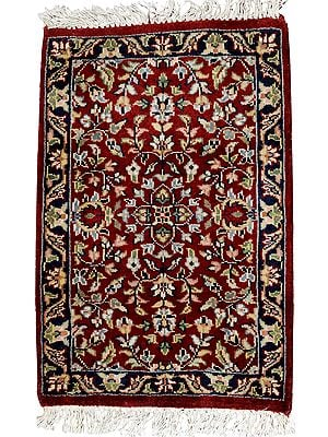 Maroon Hand-Knotted Mat from Agra with Mughal Design