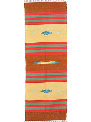 Runner Durri from Sitapur with Hand-woven Stripes in Red and Green Thread