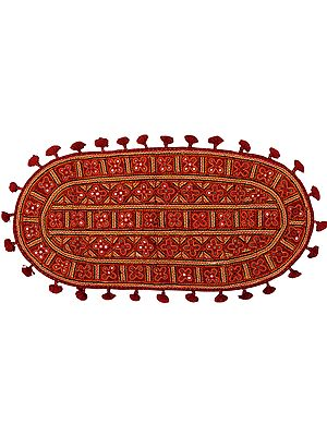 Tango-Red Mat from Kutch with Embroidered Mirrors