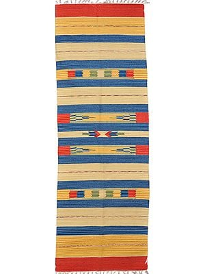 Multi-Color Runner from Sitapur with Woven Arrows