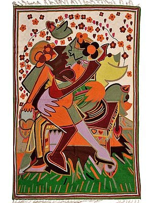 Multicolor Asana Mat from Kashmir with Embroidered Couple in Embrace