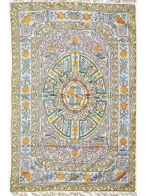 White and Green Floral Embroidered Aasana Mat from Kashmir with Mughal Design