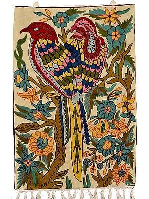 Vanilla-Custard Asana Mat cum Wall Hanging with Embroidered Birds and Foliage