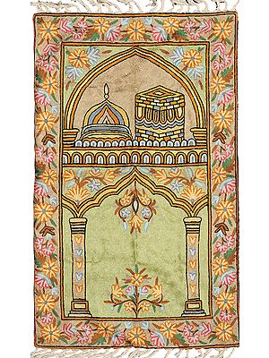 Green and Sandshell Islamic Embroidered Wall Hanging from Kashmir