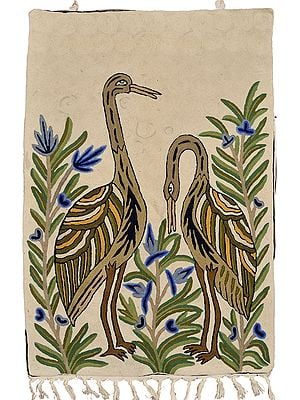Antique-White Asana Mat cum Wall Hanging with Embroidered Wading Birds