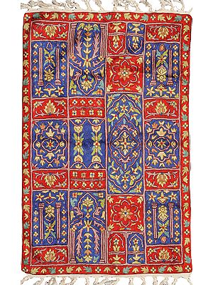 Red and Blue Floral Embroidered Yogi Asana from Kashmir with Persian Motifs